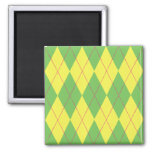 Argyle verde y amarillo imán cuadrado