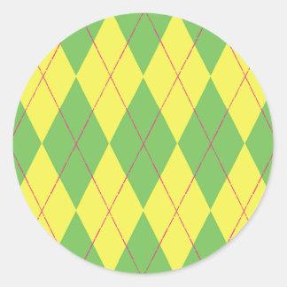 Argyle verde y amarillo pegatina redonda