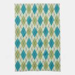 Argyle verde y azul toallas