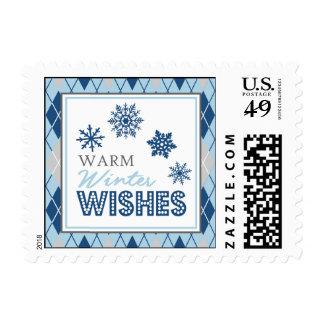 Argyle Warm Winter Wishes Christmas Postage Stamp