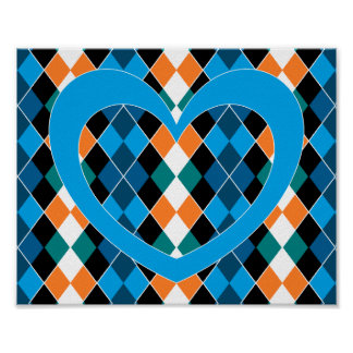 Argyle with blue heart poster