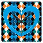 Argyle with blue heart wall clocks