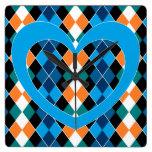 Argyle with blue heart wallclock