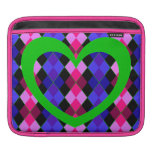 Argyle with green heart iPad sleeves