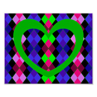 Argyle with green heart posters