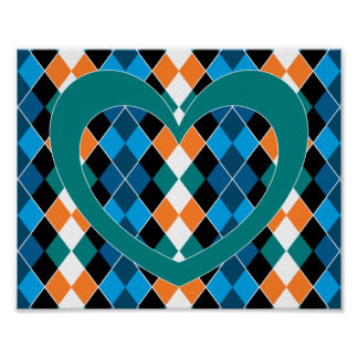 Argyle with green heart poster