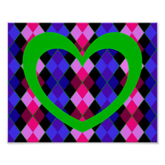 Argyle with green heart print
