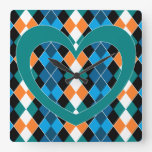 Argyle with green heart square wall clock