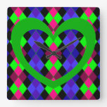 Argyle with green heart square wallclock