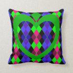 Argyle with green heart throw pillow