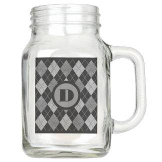 Argyle with Monogram Mason Jar