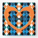 Argyle with orange heart square wall clock