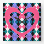 Argyle with pink heart clock