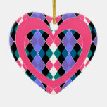 Argyle with pink heart ornament