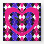 Argyle with pink heart square wall clocks