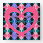 Argyle with pink heart square wallclock