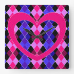 Argyle with pink heart wall clock