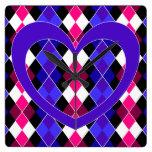 Argyle with purple heart clocks