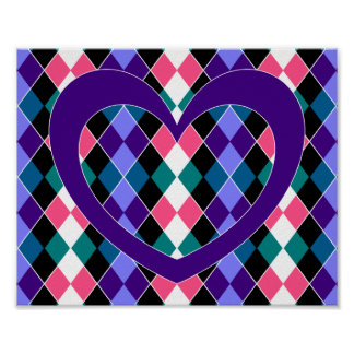 Argyle with purple heart poster