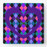 Argyle with purple heart square wall clock
