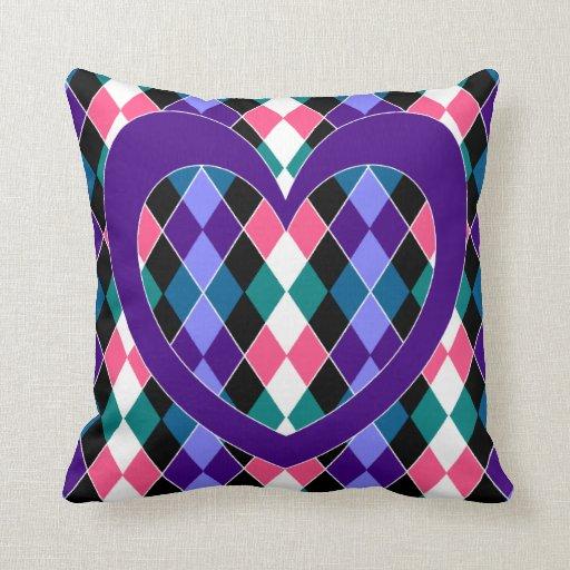 Argyle with purple heart throw pillows