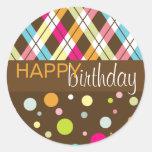 Argyle y cumpleaños del lunar feliz pegatina redonda