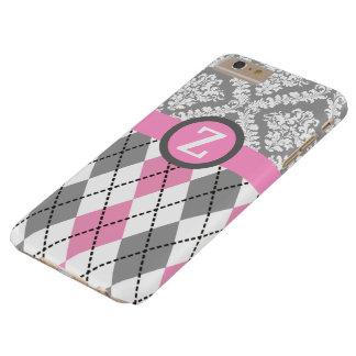Argyle y el damasco modelan el monograma rosado, funda de iPhone 6 plus barely there