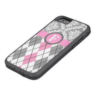 Argyle y el damasco modelan el monograma rosado, funda de iPhone 6 tough xtreme