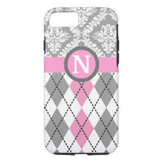 Argyle y el damasco modelan el monograma rosado, funda iPhone 7