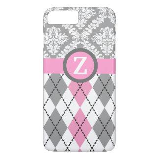 Argyle y el damasco modelan el monograma rosado, funda iPhone 7 plus