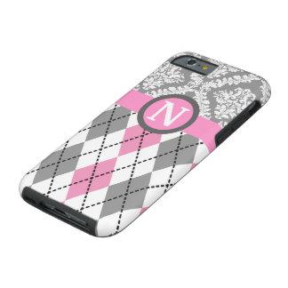 Argyle y el damasco modelan el monograma rosado, funda resistente iPhone 6