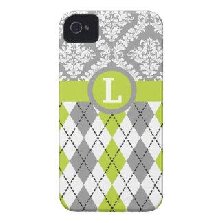 Argyle y el damasco modelan el monograma verde, iPhone 4 Case-Mate cárcasas