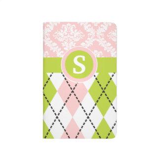 Argyle y el damasco modelan el monograma verde, ro cuaderno