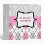 "Argyle y el damasco modelan receta rosada, gris carpeta 1 1/2"""