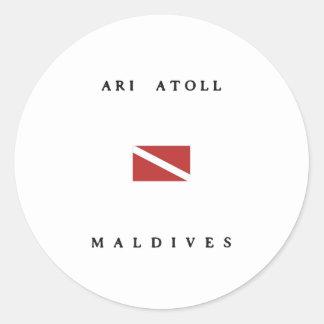 Ari Atoll Maldives Scuba Dive Flag Classic Round Sticker