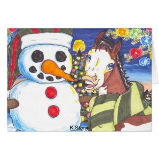 Ari y el muñeco de nieve tarjeta de felicitación
