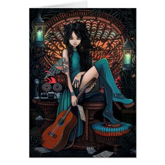Aria de hadas bohemia de la silla del pavo real tarjeta de felicitación
