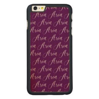 Aria - Modern Calligraphy Name Design Carved Maple iPhone 6 Plus Slim Case
