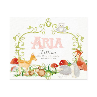 Aria Top 100 Baby Names Girls Newborn Nursery Canvas Print