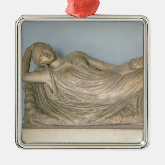 Ariadne Asleep, Hellenistic from Alexandria, 2nd c Square Metal Christmas Ornament