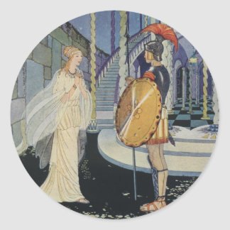 Ariadne y Theseus Pegatina Redonda