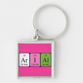 Arial periodic table name keyring key chain