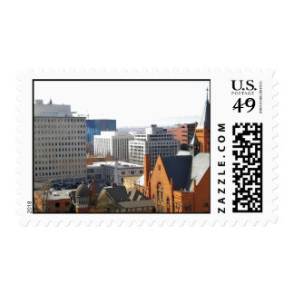 Arial view city Buildings Stamp