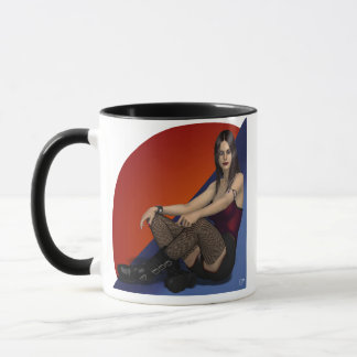 Ariana Hot Goth Babe 3d Pinup in Fishnets Mug
