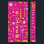 """Arianna girls name text flower pink yellow case<br><div class=""""desc"""">Pretty graphic flowers in yellow,  pink and white and your own name text typographic patterned ipad case. Currently reads Arianna,  background color can also be personalized currently a hot pink. Original graphic flowers and design by Sarah Trett for www.mylittleeden.com</div>"""