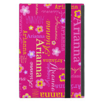 Arianna girls name text flower pink yellow case