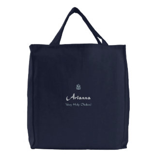 Arianna Name With Italian Meaning Navy Embroidered Tote Bag