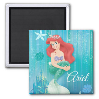 Ariel and Castle 2 Inch Square Magnet