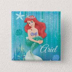 Square Button with Ariel Under The Sea - The Little Mermaid design