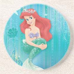 Sandstone Drink Coaster with Ariel Under The Sea - The Little Mermaid design